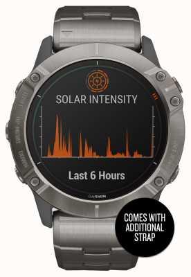 Garmin Fenix 6x pro solar | pulsera de titanio y correa naranja 010-02157-24