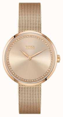BOSS El | alabanza de las mujeres pulsera de malla de acero de oro rosa | esfera rosa 1502548