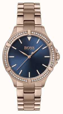 BOSS El | mini deporte femenino | pulsera de oro rosa | esfera azul 1502468