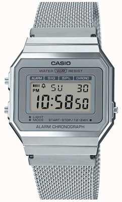 Casio El | vintage | pulsera de malla de acero | cronómetro | luz de fondo LED A700WEM-7AEF