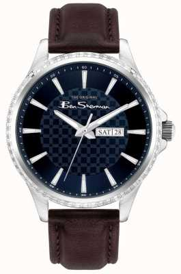 Ben Sherman El | correa de cuero marrón para hombre | esfera azul BS029BR