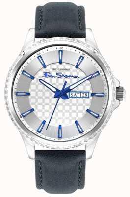 Ben Sherman El | correa de cuero azul para hombre | esfera plateada BS029U