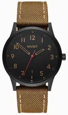 MVMT El | campo | correa de lona marrón | esfera negra 28000017-D