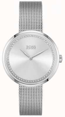 BOSS Alabanza | pulsera de malla de acero para mujer | esfera de cristal plateado 1502546