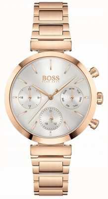 BOSS Impecable | pulsera de mujer en oro rosa de pvd | esfera plateada 1502531