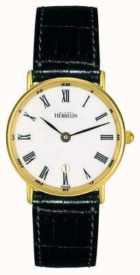 Michel Herbelin Correa de cuero negro para mujer | esfera blanca | caja de oro 16845/P01