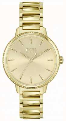 BOSS El | firma de mujeres | pulsera de acero chapado en oro | esfera dorada 1502541