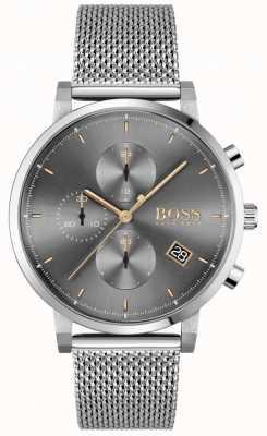 BOSS El | integridad de los hombres | pulsera de malla de acero | esfera gris / negra 1513807