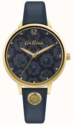 Cath Kidston El | correa de cuero azul marino para mujer | esfera floral CKL093UG