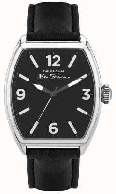 Ben Sherman El | correa de cuero negro para hombre | esfera rectangular negra BS040B