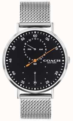 Coach El | charles de hombres | pulsera de malla de acero | esfera negra 14602477