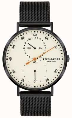 Coach El | charles de hombres | pulsera de malla negra | esfera blanca 14602480