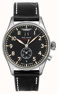 Iron Annie Control de vuelo de cuarzo | correa de cuero negro | esfera negra 5140-2