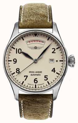 Iron Annie Control de vuelo automático | correa de cuero marrón | esfera de color beige 5164-3