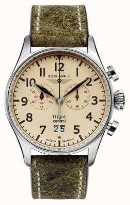 Iron Annie Control de vuelo de cuarzo | correa marrón | esfera de color beige 5186-5