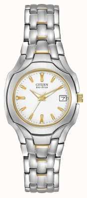 Citizen Mujer de dos tonos con dial blanco eco-drive EW1254-53A