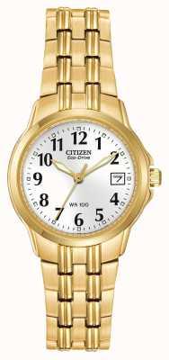 Citizen Ladies caja plateada y brazalete en oro Eco-Drive EW1542-59A
