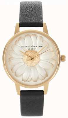 Olivia Burton Margarita 3d | correa de cuero negro para mujer | Margarita OB15EG38