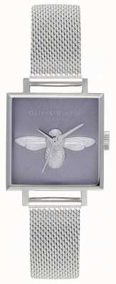 Olivia Burton Abeja 3d | pulsera de malla plateada para mujer | esfera de abeja plateada OB16AM136