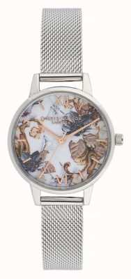 Olivia Burton Florales de mármol | pulsera de malla de acero para mujer | esfera floral OB16CS16