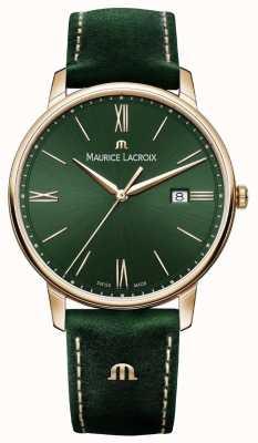 Maurice Lacroix Elrios ahumado correa de cuero verde caja chapada en oro EL1118-PVP01-610-1