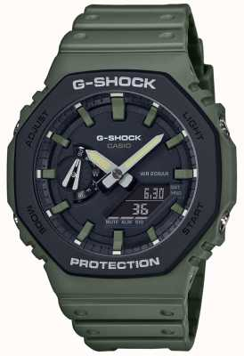 Casio G-shock | núcleo de carbono | correa de goma verde | Pantalla digital GA-2110SU-3AER