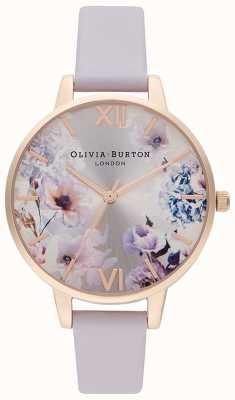 Olivia Burton Luz solar florales | correa de cuero lila para mujer | esfera floral OB16EG140