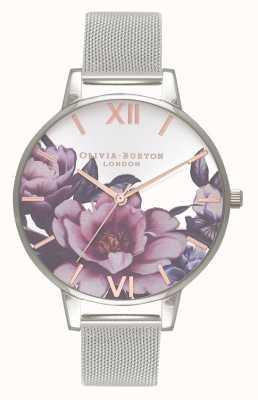 Olivia Burton Salón de mujeres | esfera grande de peonía | pulsera de malla de plata OB16PL60