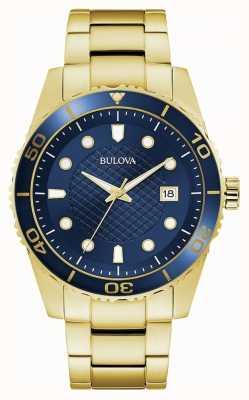 Bulova Deporte | pulsera de oro y acero inoxidable | esfera azul 98A197