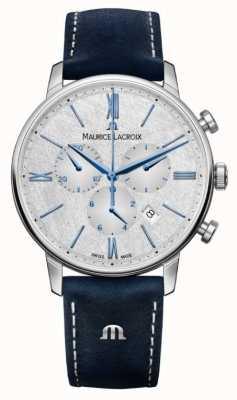 Maurice Lacroix Cronógrafo Eliros | correa de cuero azul | esfera plateada EL1098-SS001-114-1