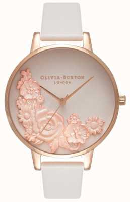 Olivia Burton Esferas de color rosa | rubor correa de cuero | esfera floral OB16FS85