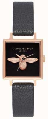 Olivia Burton Abeja 3d | correa de cuero negro | esfera de abeja cuadrada negra OB16AM128