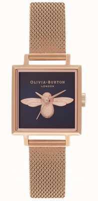 Olivia Burton Abeja 3d | pulsera de malla de oro rosa | esfera cuadrada de abeja OB16AM96