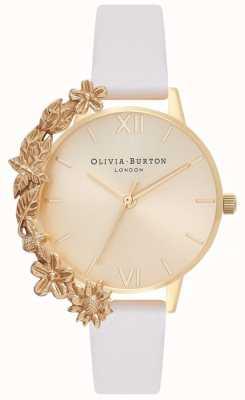 Olivia Burton Puños de caja | correa de piel desnuda | esfera dorada OB16CB10