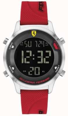 Scuderia Ferrari Digitack para hombres | correa de goma roja | esfera digital negra 0830757
