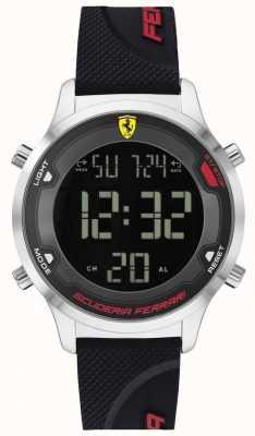 Scuderia Ferrari Digitack para hombres | correa de caucho negro | esfera digital negra 0830756