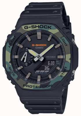 Casio G-shock | bisel en capas | correa de caucho negro | caja de carbono GA-2100SU-1AER