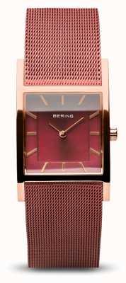 Bering Clásico de las mujeres | oro rosa pulido | pulsera de malla roja 10426-363-S