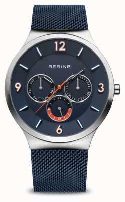 Bering Clásico de los hombres | plata cepillada | correa de malla azul | esfera azul 33441-307