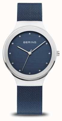 Bering Clásico de las mujeres | plata pulida | correa de malla azul 12934-307