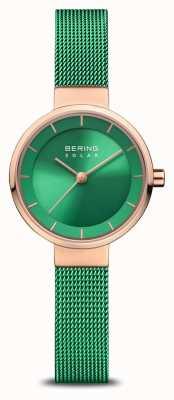 Bering Caridad de mujeres | rosa pulida / cepillada | correa de malla verde 14627-CHARITY