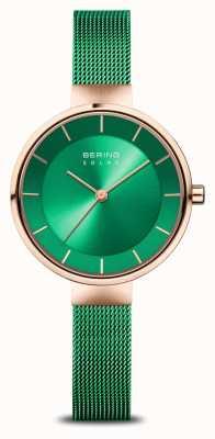 Bering Caridad de mujeres | oro rosa pulido / cepillado | malla verde 14631-CHARITY
