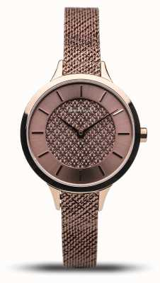 Bering Clásico de las mujeres | rosa pulida | pulsera de malla de oro rosa 17831-265