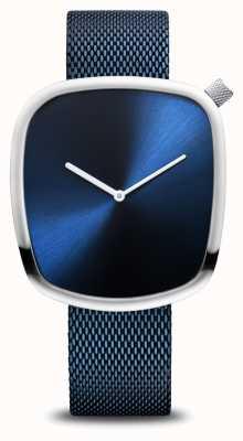 Bering Clásico | guijarro | azul cepillado | esfera cuadrada | malla azul 18040-307