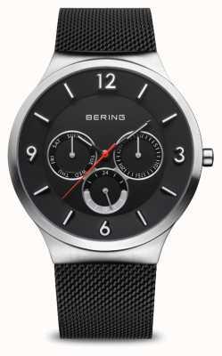 Bering Clásico de los hombres | plata cepillada | pulsera de malla negra 33441-102