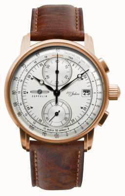 Zeppelin Cronógrafo para hombre | 100 años | correa de cuero marrón 8672-1