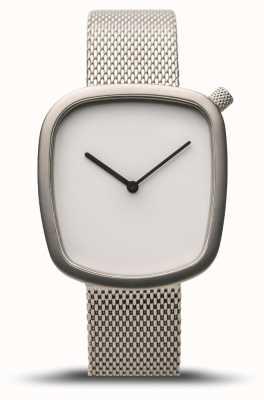 Bering Clásico | guijarro | plata cepillada | malla de plata | esfera blanca 18034-004