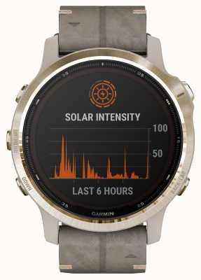 Garmin Fenix 6s pro solar | correa de gamuza gris pizarra oro claro 010-02409-26
