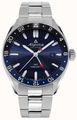 Alpina Alpiner cuarzo gmt | esfera azul | pulsera de acero inoxidable AL-247NB4E6B