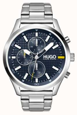 HUGO #Caza de los hombres | esfera azul | reloj de acero inoxidable 1530163